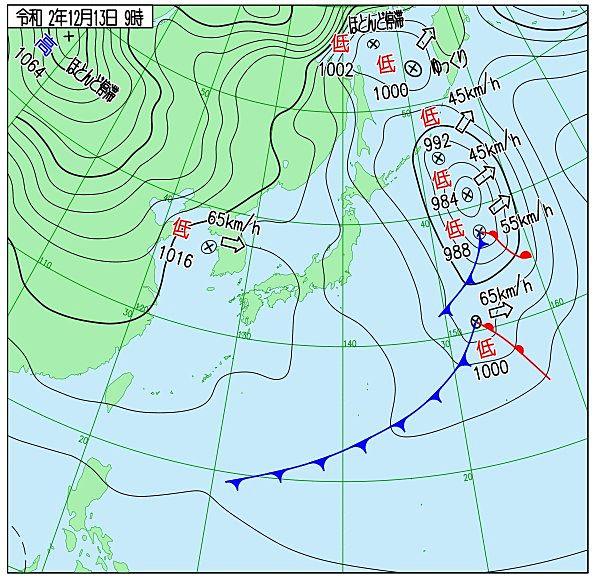 気象庁が発表した12月13日午前9時の天気図